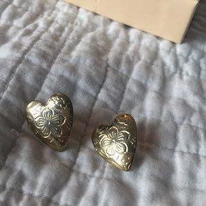 Vintage Silver Tone Etched Heart Earrings